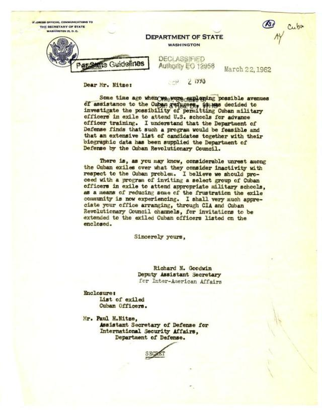 Letter Dated March 22, 1962, Goodwin to Nitze.