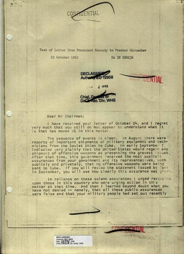 Text of Letter from President Kennedy to Premier Khruschev, Dated 25 October 1962, page 1