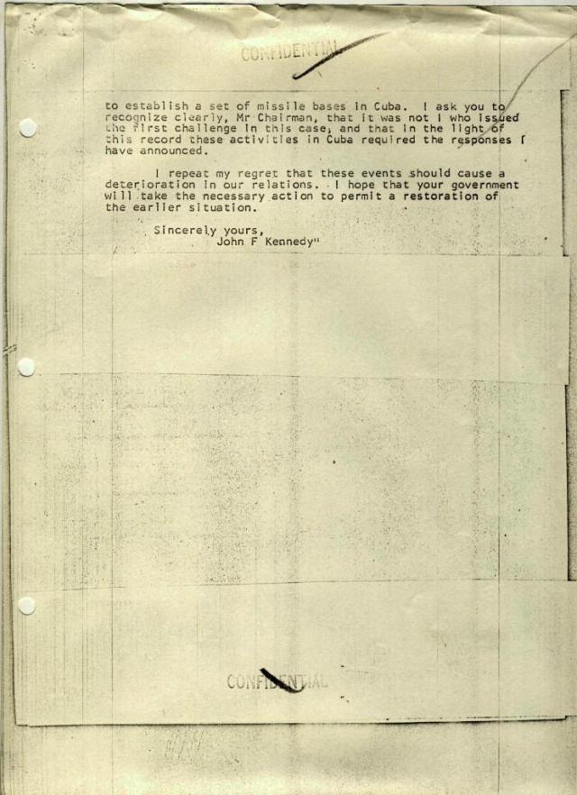 Text of Letter from President Kennedy to Premier Khruschev, Dated 25 October 1962, page 2