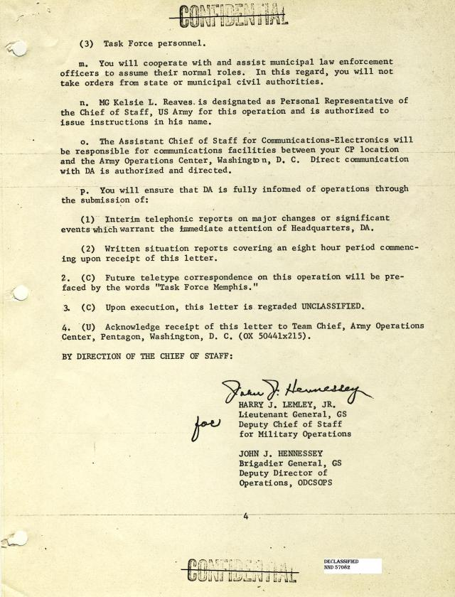 Letter to Major General Thomas G. Wells, Jr.  Commanding General, 30th Armored Division page 1